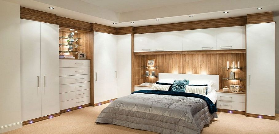 Glossy Contemporary White Fitted Bedroom Furniture Built