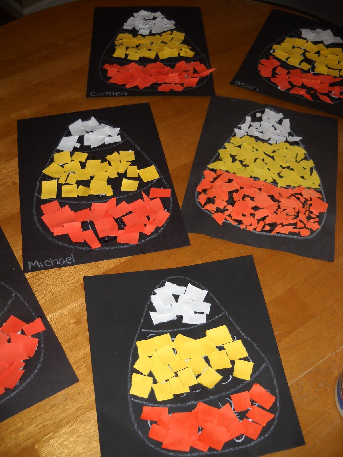 Simple Fall Craft For Kids Construction Paper Candy Corn Collages Great Way To Work On Colors