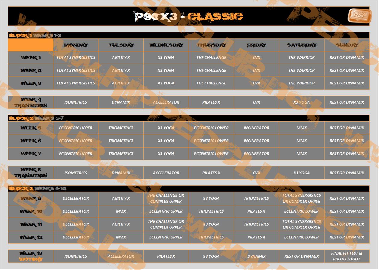P90x3 Workout Schedules