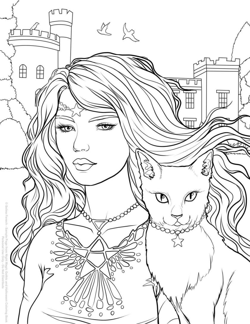 halloween  selina fenech  fantasy coloring pages for