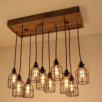 Cage Light Chandelier Lighting Edison Bulbs Upcycled Wood