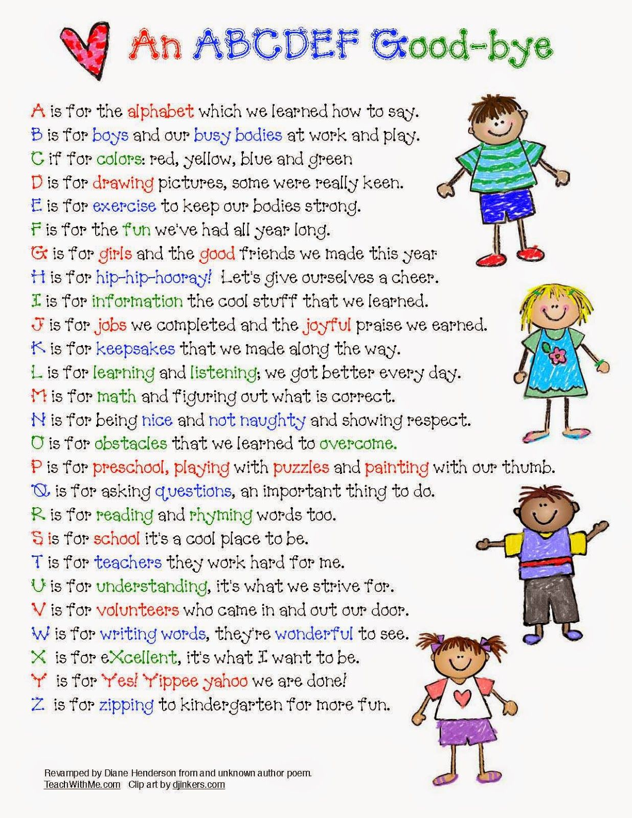 Classroom Freebies Abc Ya Farewell Poem For The End Of