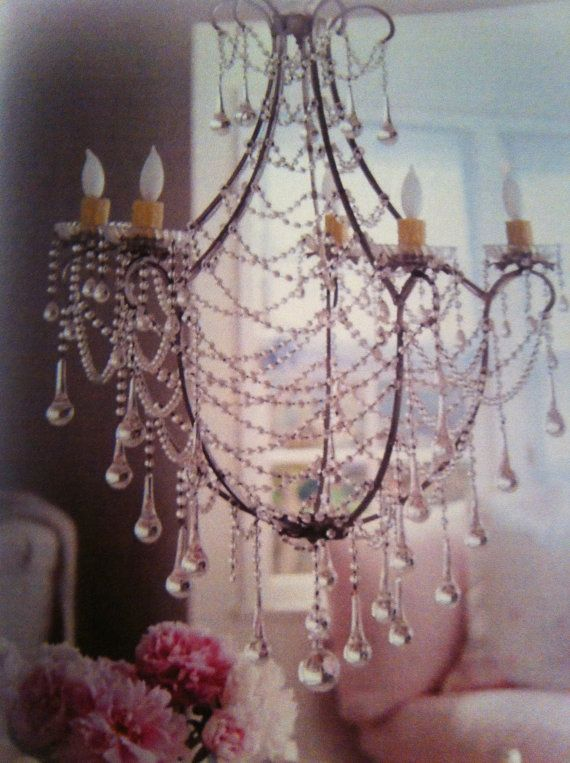 Birdcage Crystal Chandelier Clear Murano Glass Crystals Drops And Chains Shabby Chic Style Made To Order