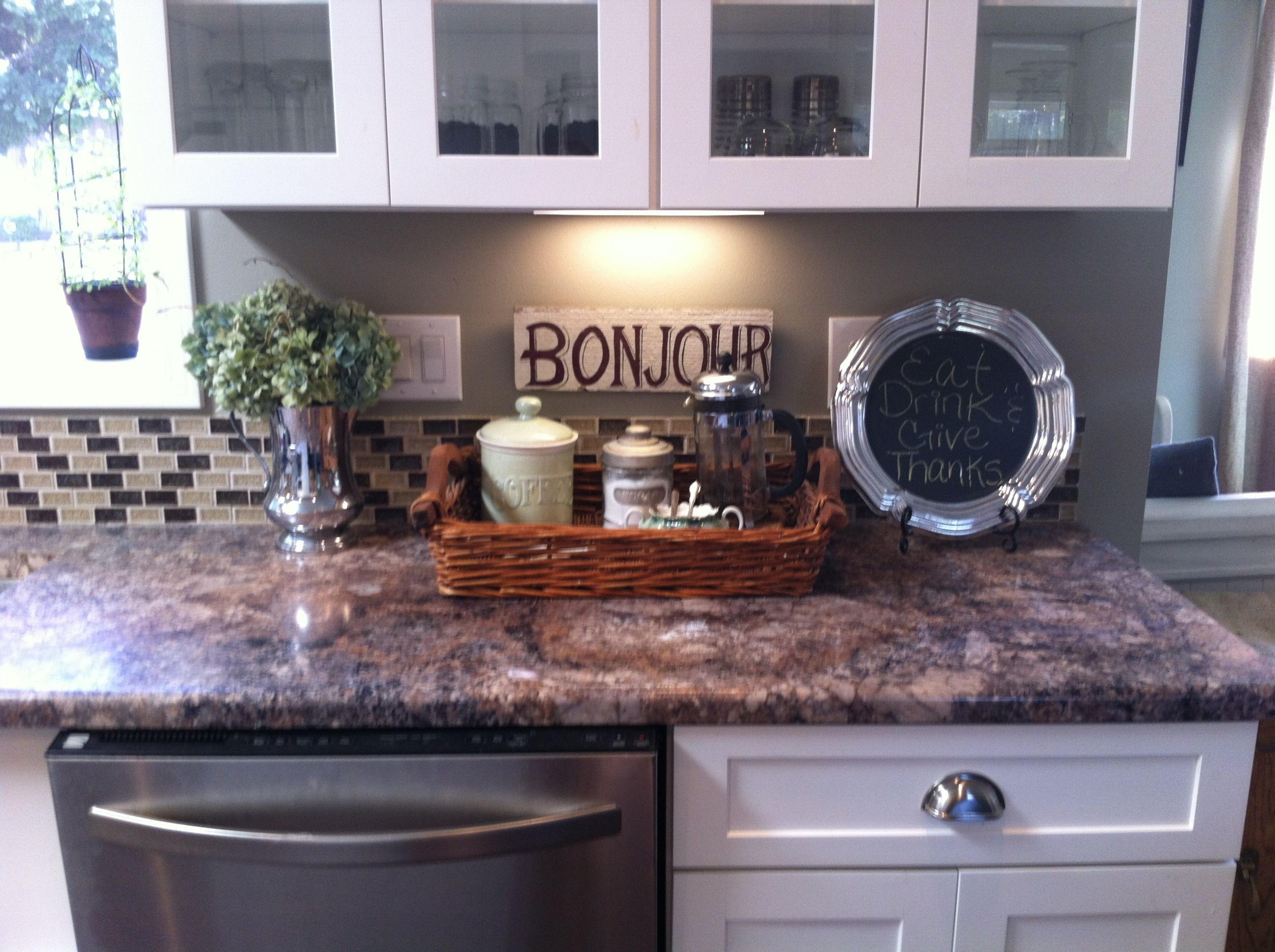 Kitchen counter decor   A pretty home is a happy home ... on How To Decorate A Kitchen Counter  id=56783