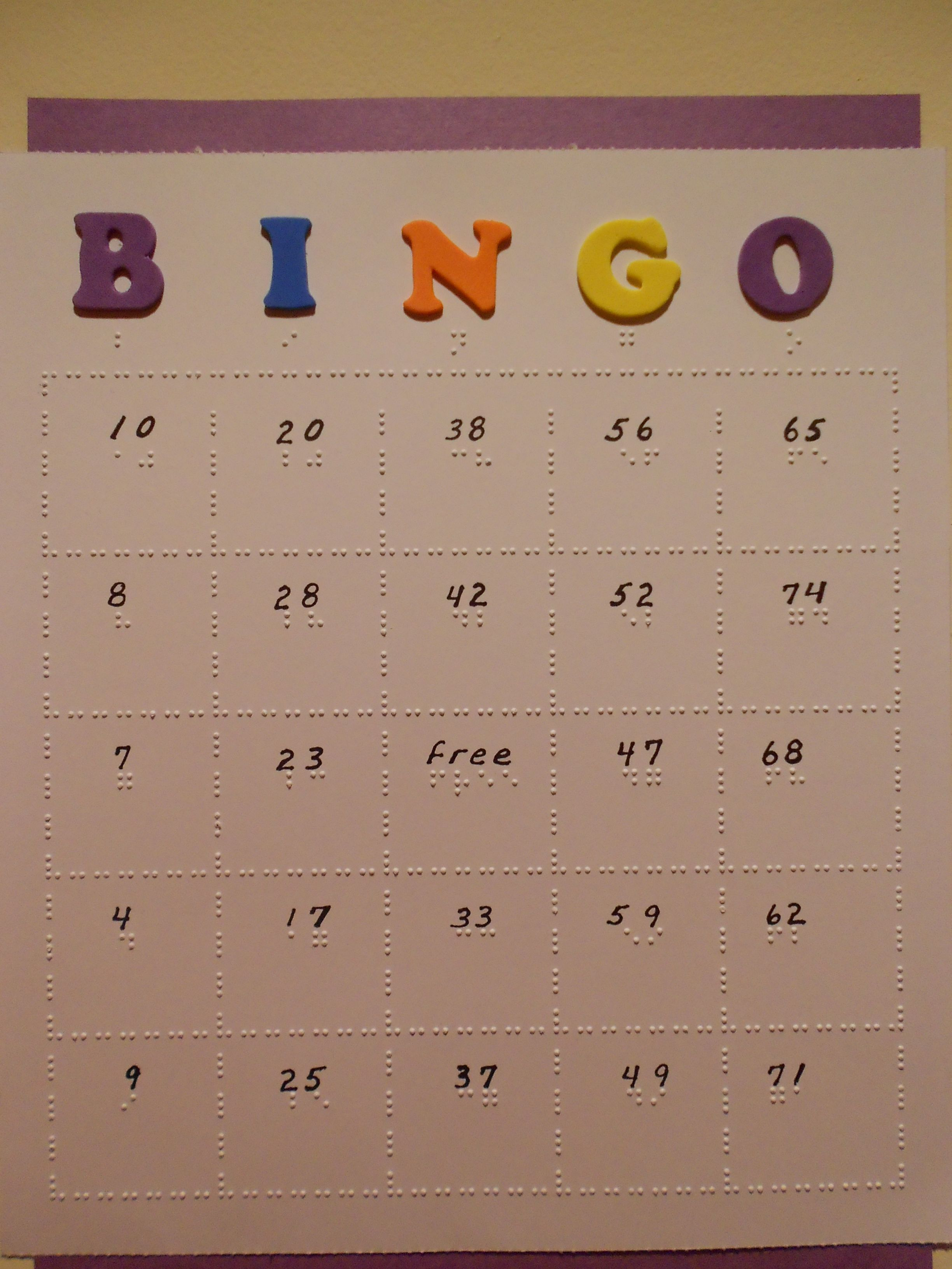 Braille Bingo Cards Can Be Individually Adapted For The Blind Student By Your Braille Teacher
