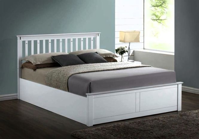 Lavish New Solid Wooden Ottoman Storage Bed Frame In King Size White Free P