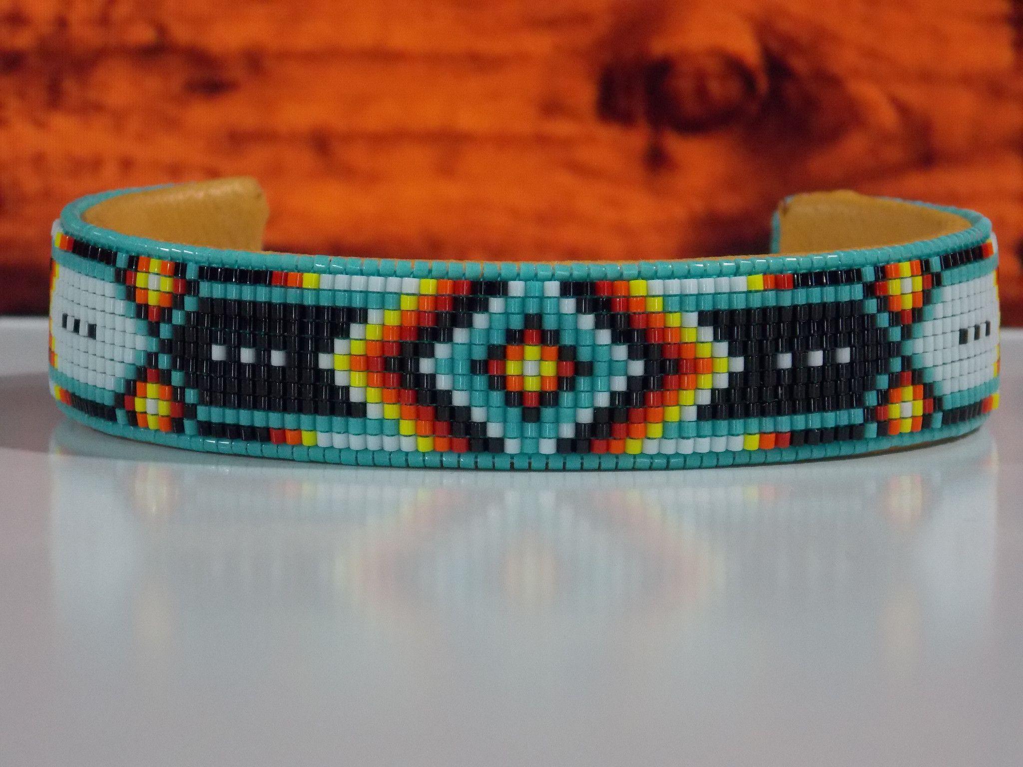 Native American Beaded Cherokee Chevron Cuff Bracelet