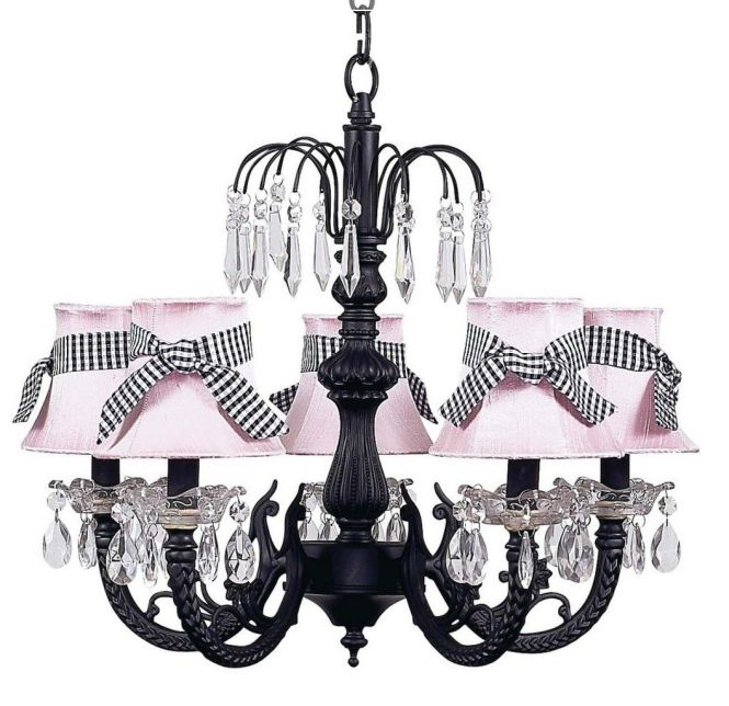 Jubilee Black Waterfall Chandelier With Pink Shades