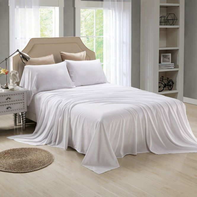 Honeymoon Extreme Soft 4pc Bed Sheet Set White 35 00