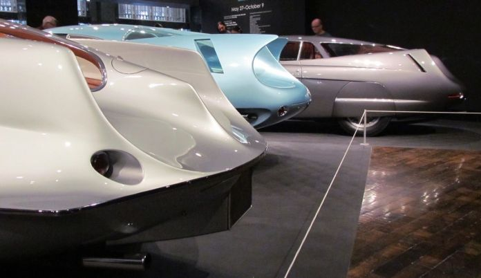 sculptural curves grace the tail fins of the alfa romeo 'bat' cars