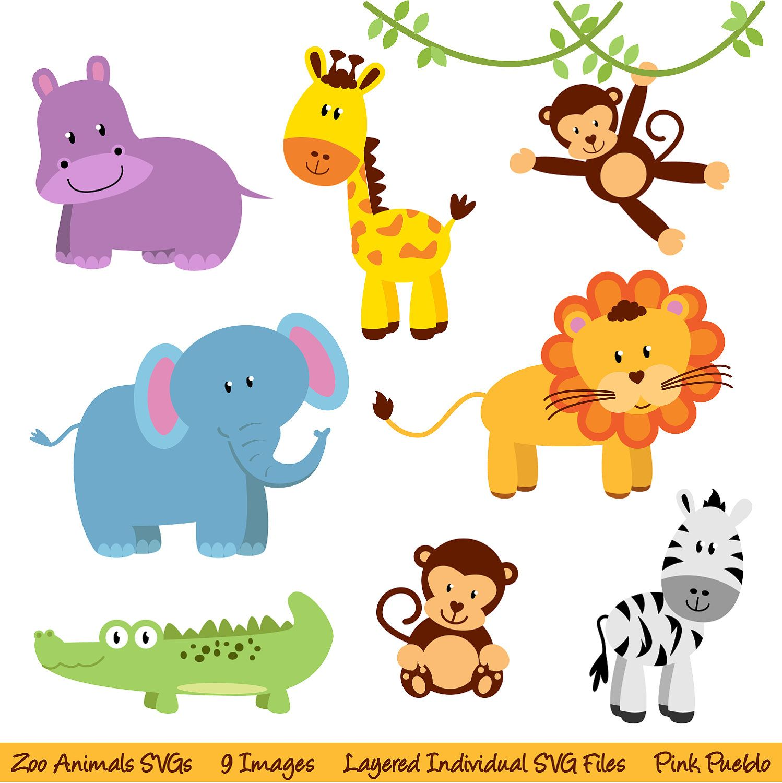 Zoo Animals Svgs Zoo Safari Jungle Animals Cutting Templates