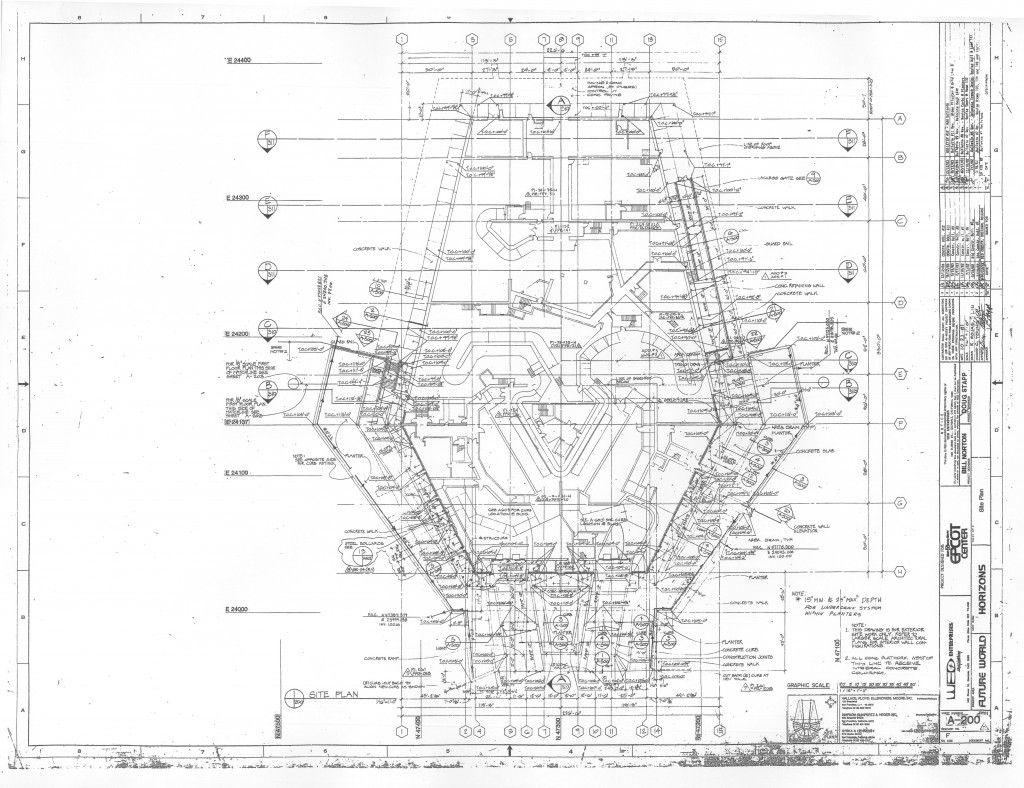 Overhead Blueprint Of Horizons Epcot Center