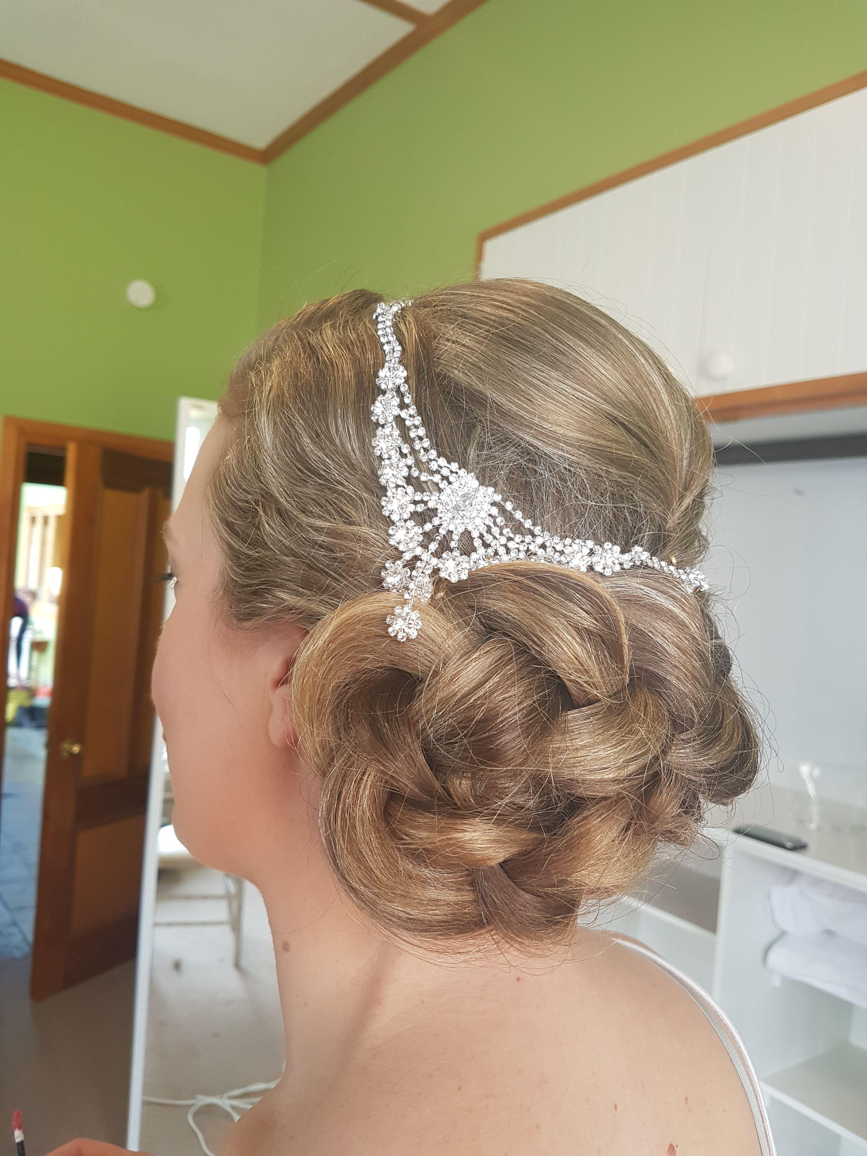 bridal hair style braid braided chignon bride hair by Sara of