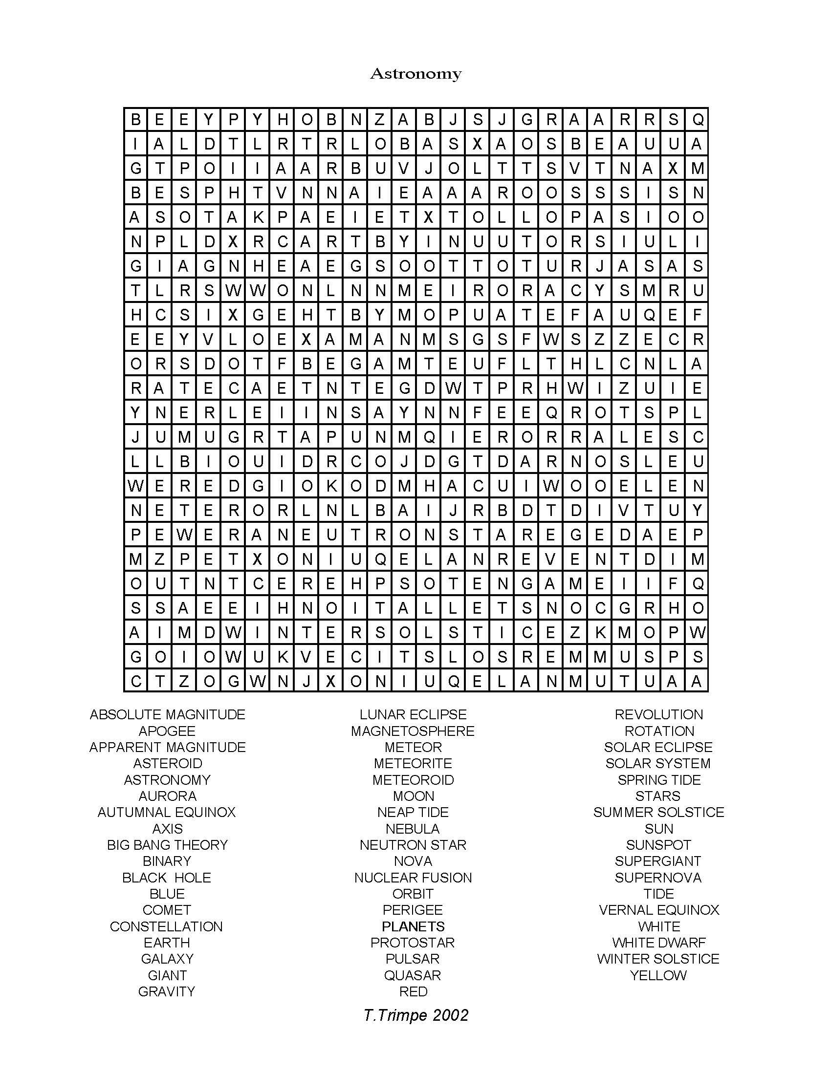Science Crossword Puzzle