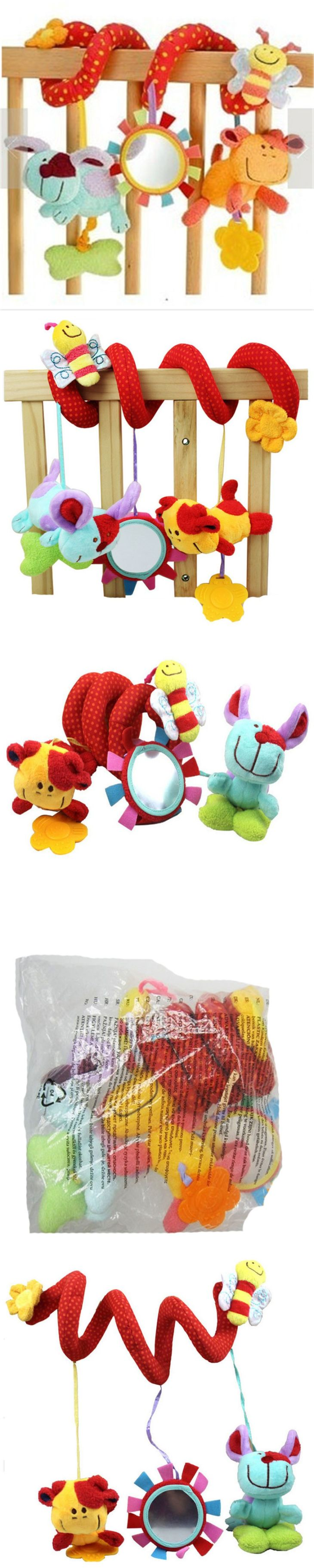 New baby soft crib toy animal friends pull ring bed around