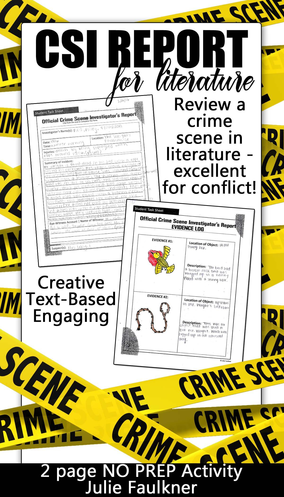 Crime Scene Investigator Police Report Creative Text