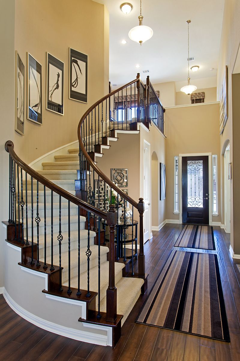 Curved Staircase With Wrought Iron Spindles Pinteres