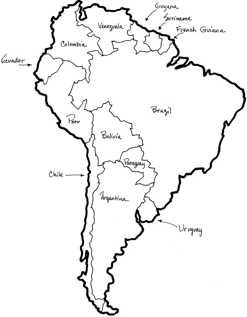 Map Of Central And South America Coloring Sheet