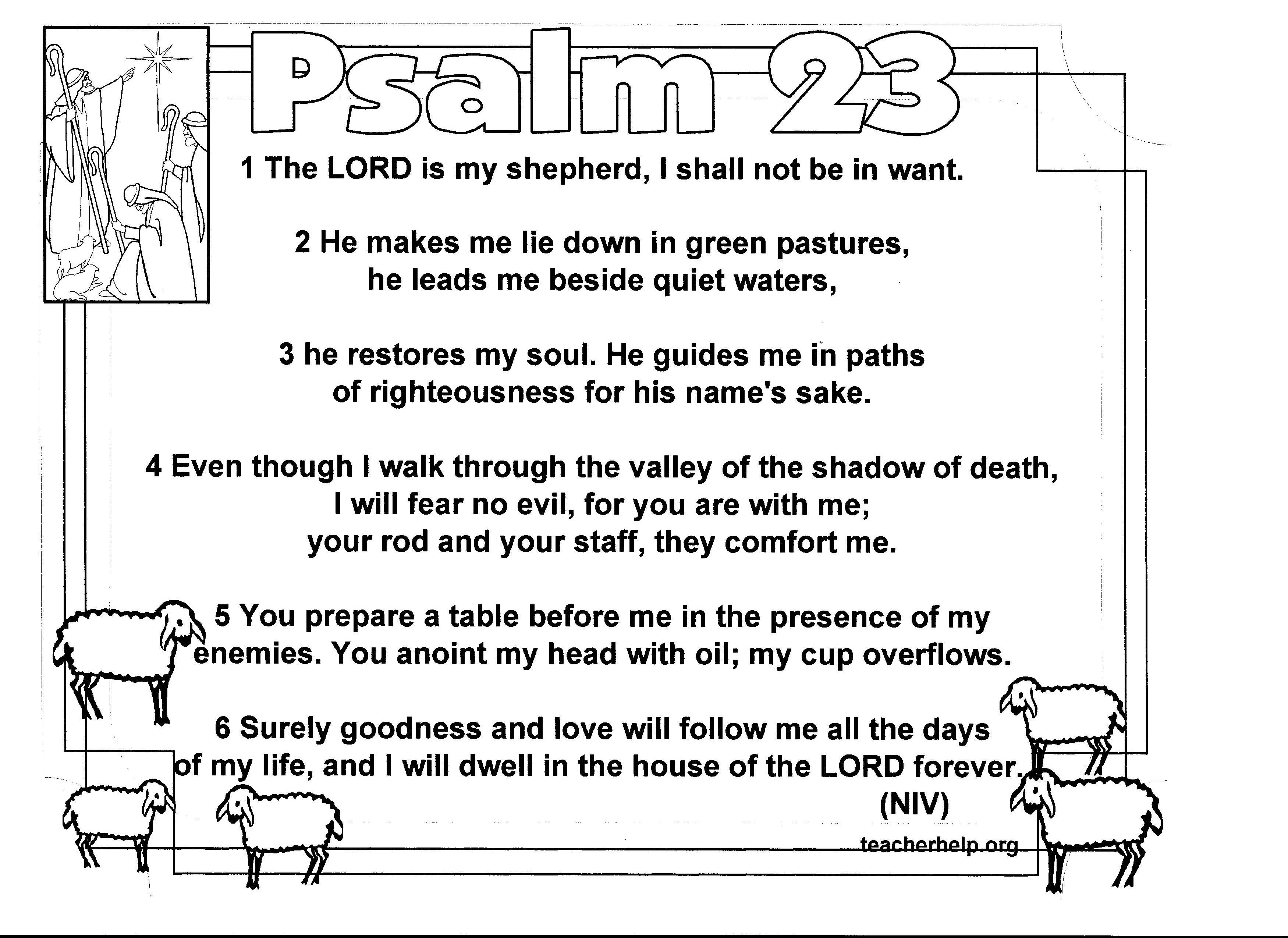 Psalm 23 Coloring Sheet Is Available In Niv Kjv And Nvi Espanol Go To Teacherhelp