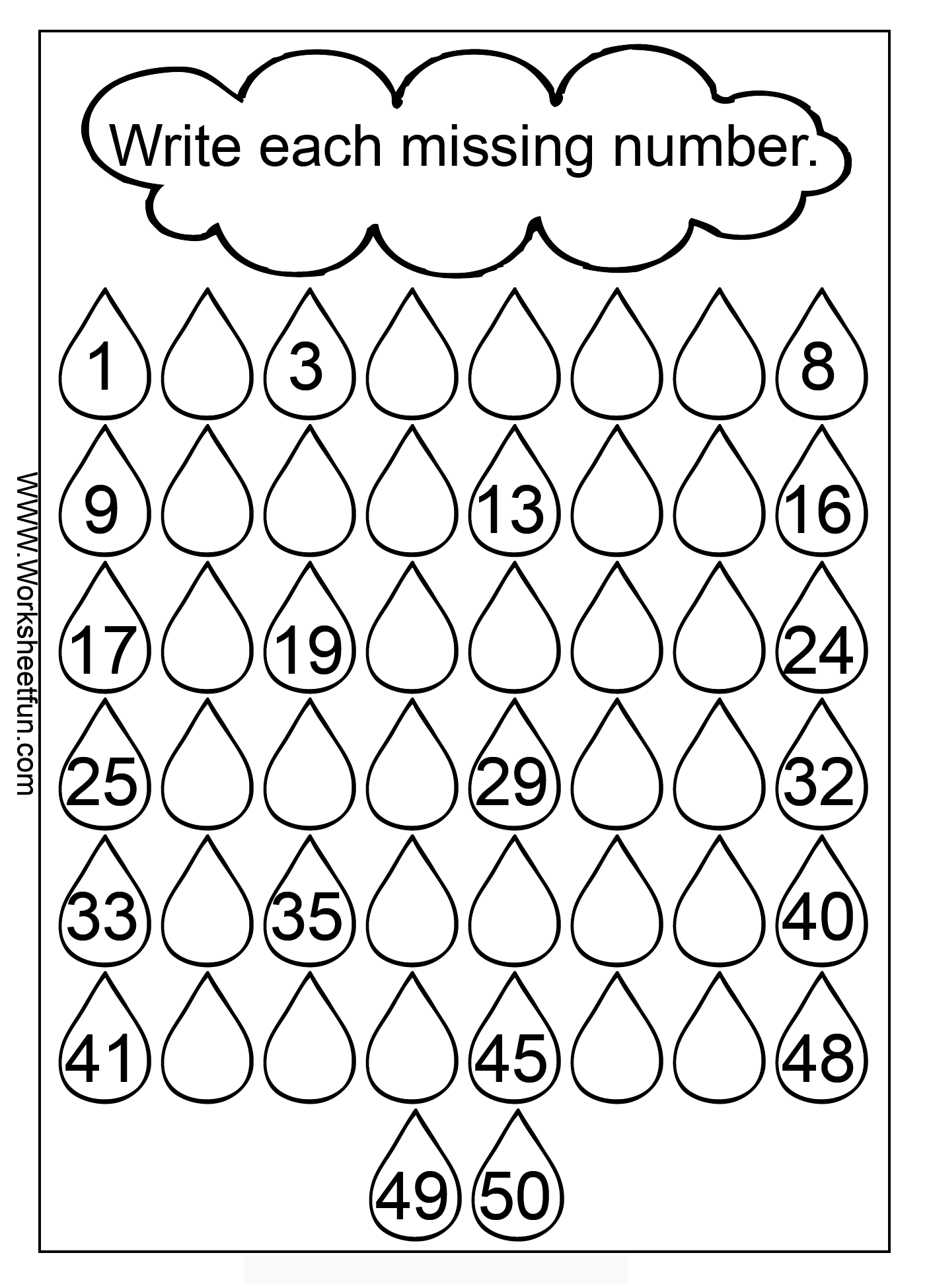 Fill In The Missing Numbers Worksheet School