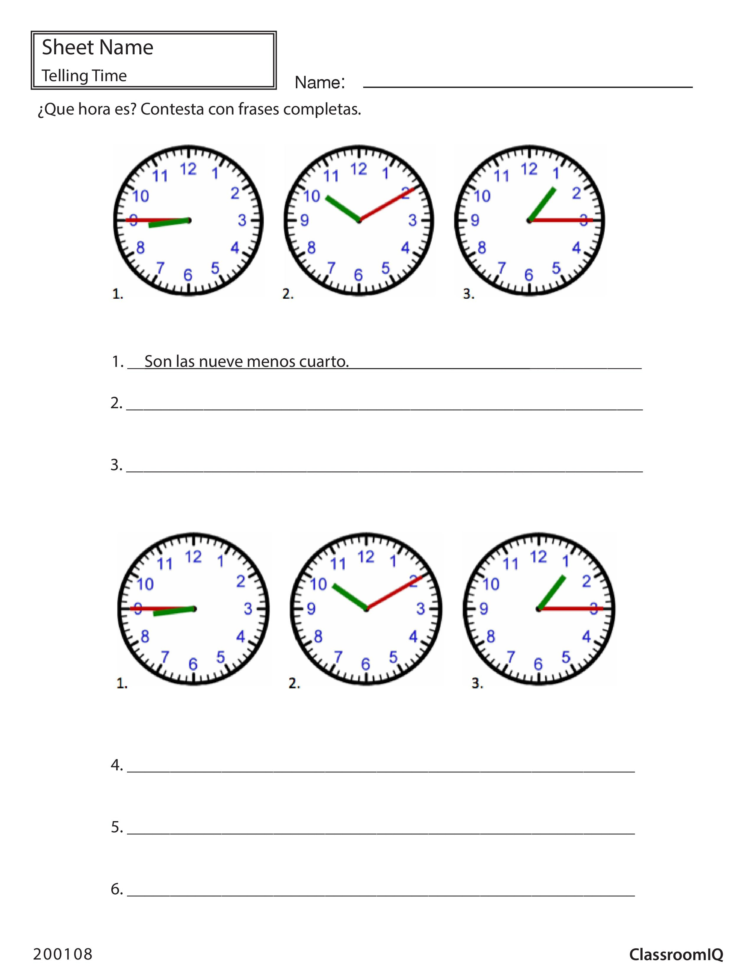 Write The Time In Spanish Spanishworksheets Classroomiq