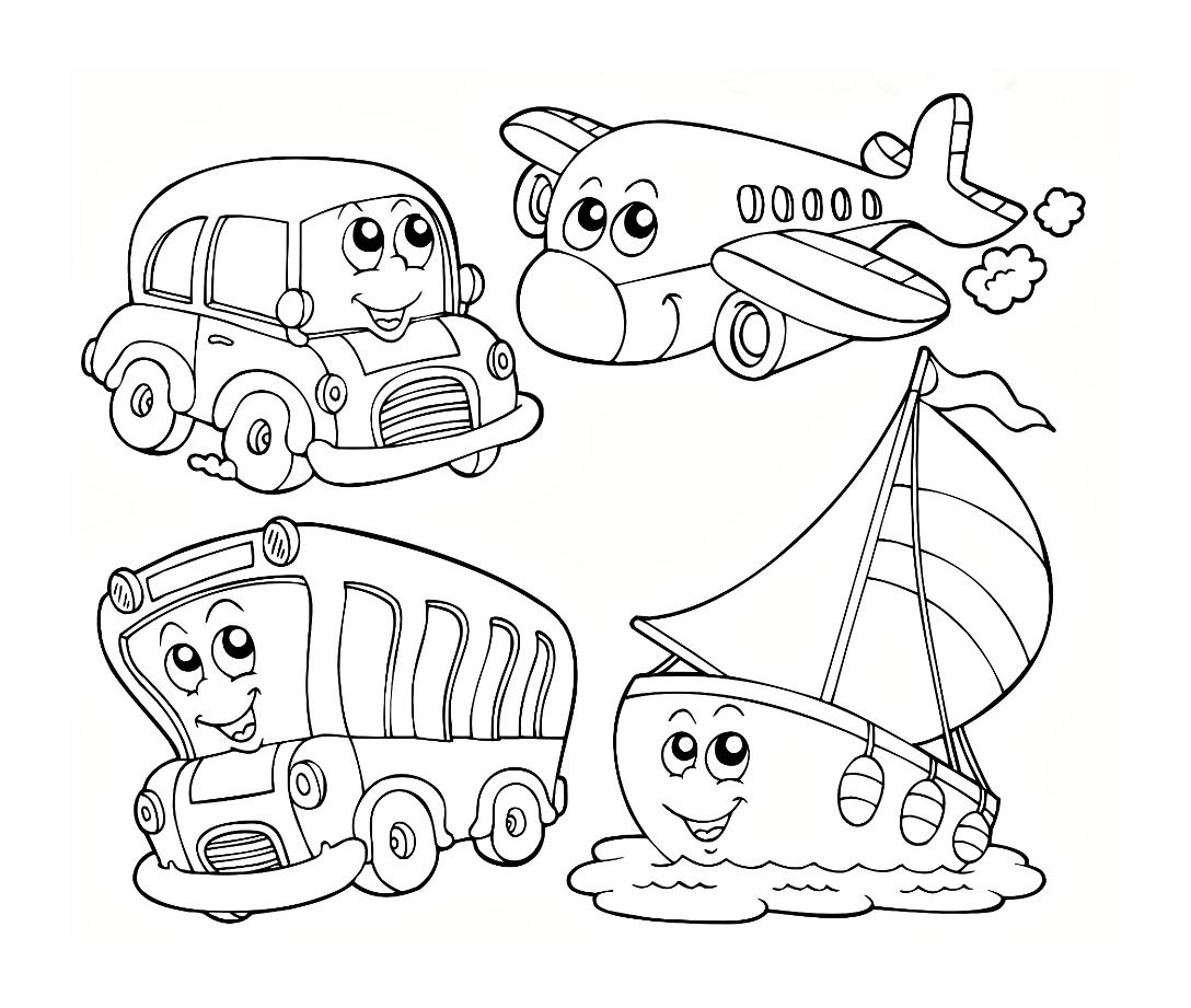 Transportation Coloring Worksheet For Kids