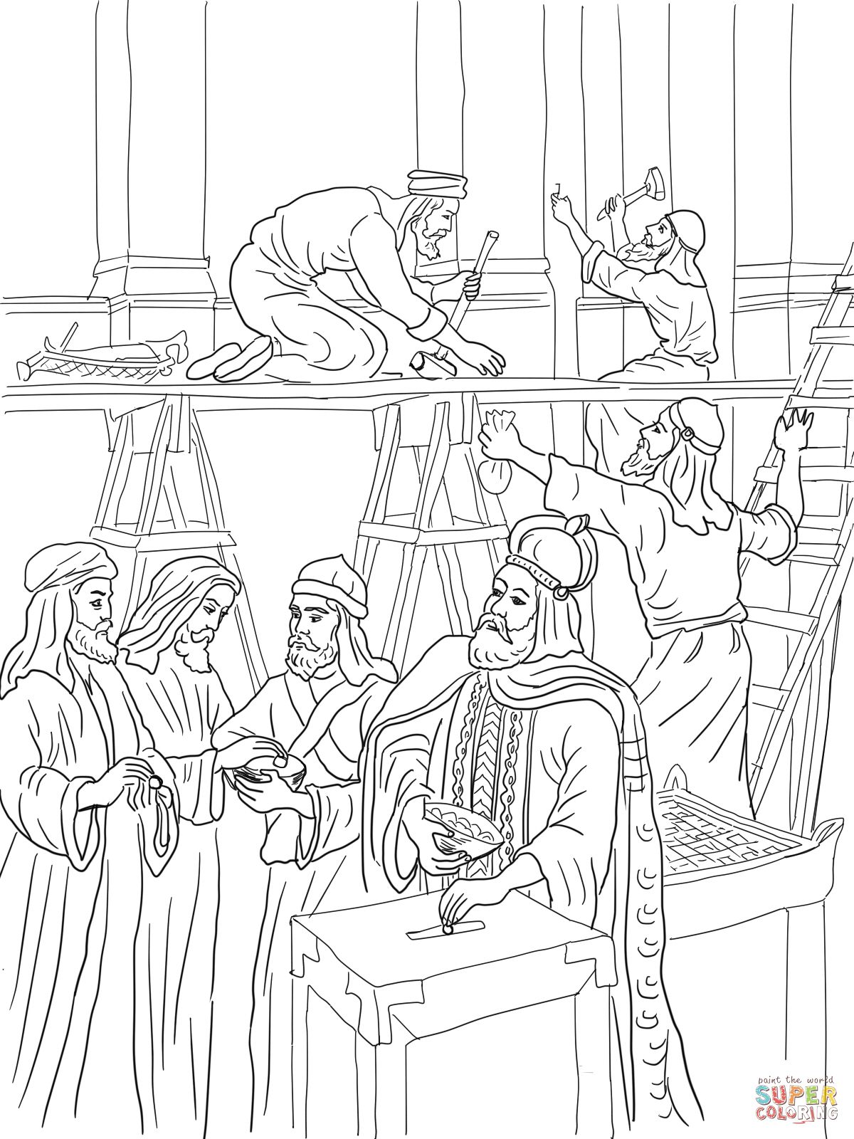 Joash Repairs The Temple Coloring Page