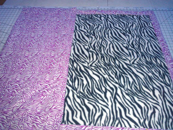 pink zebra cottonzebra fleece sewn blanket DIY warm and cozy