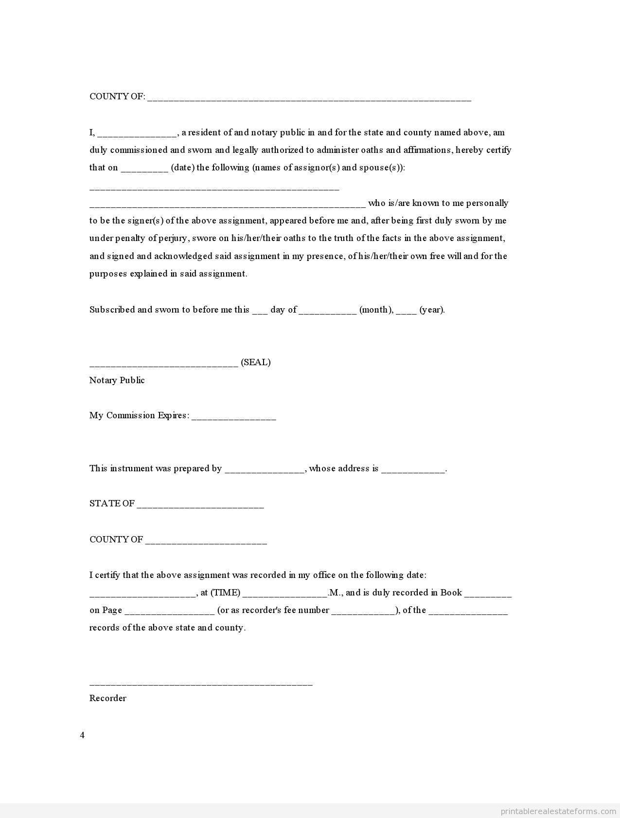 Sample Printable Assignment Joint Ownership With Right Of Survivorship Form