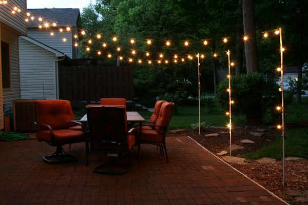support poles for patio lights made from rebar and on awesome deck patio outdoor lighting ideas that lighten up your space id=18718
