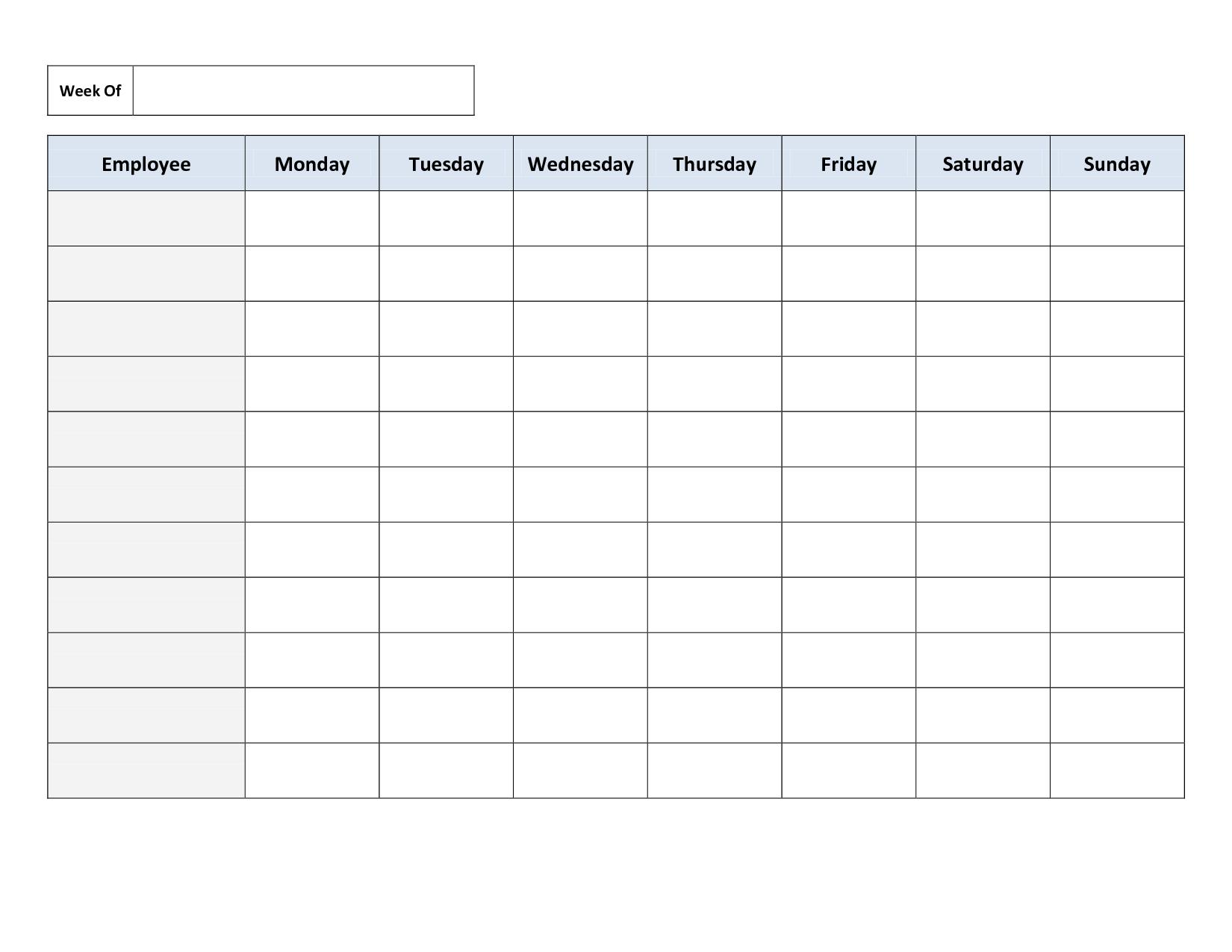 Free Printable Work Schedules