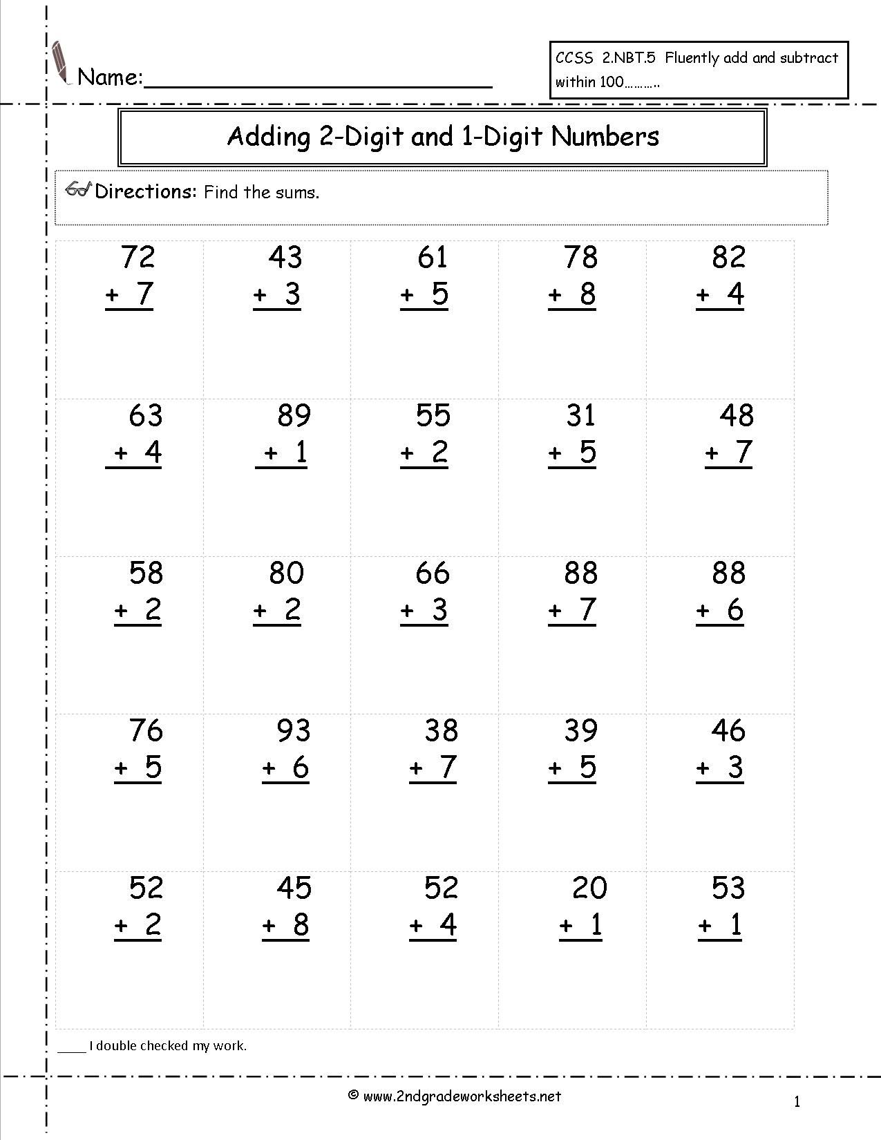 Adding Two Digit And One Digit Numbers