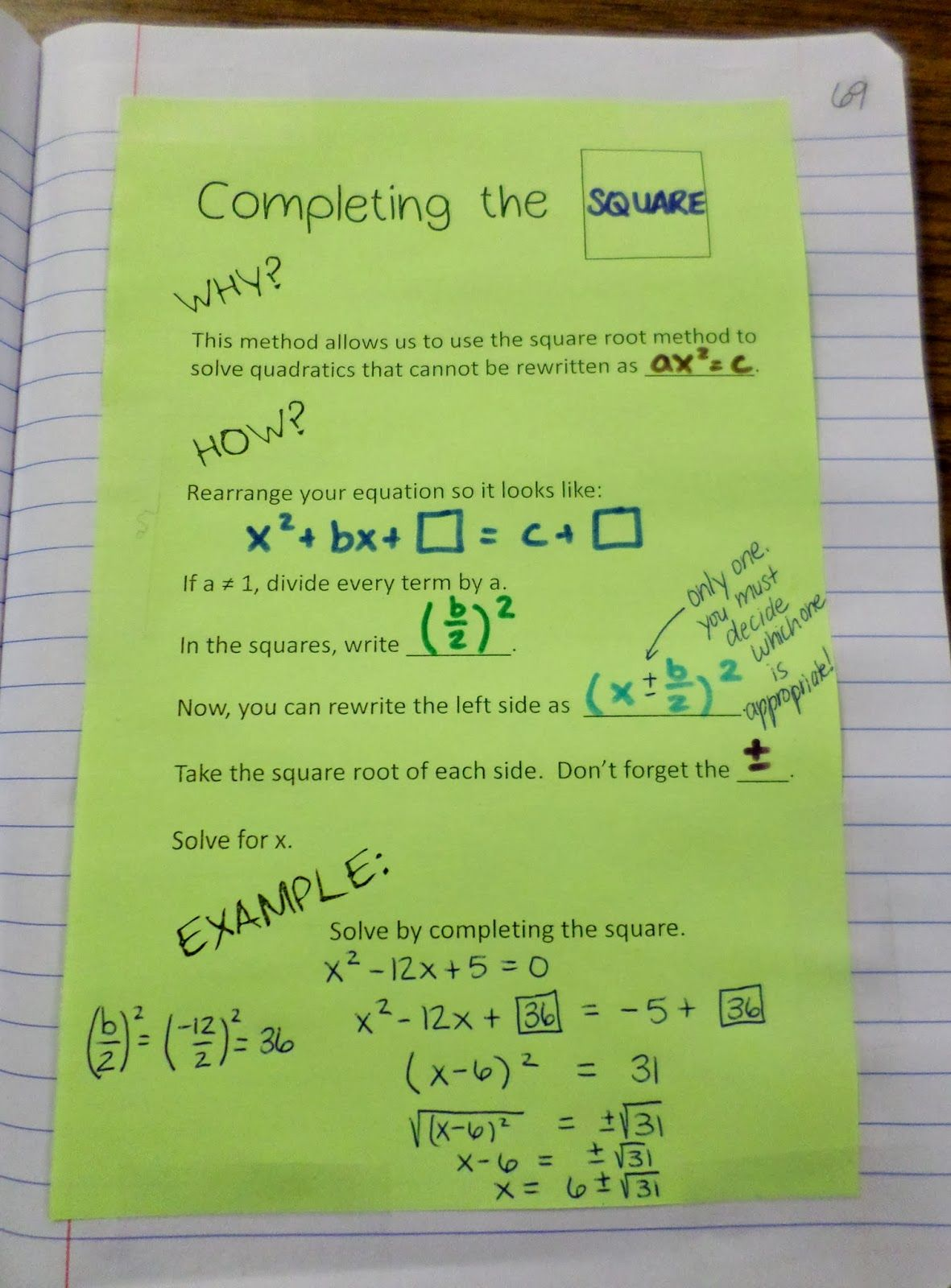 Math Love Completing The Square Interactive Notebook