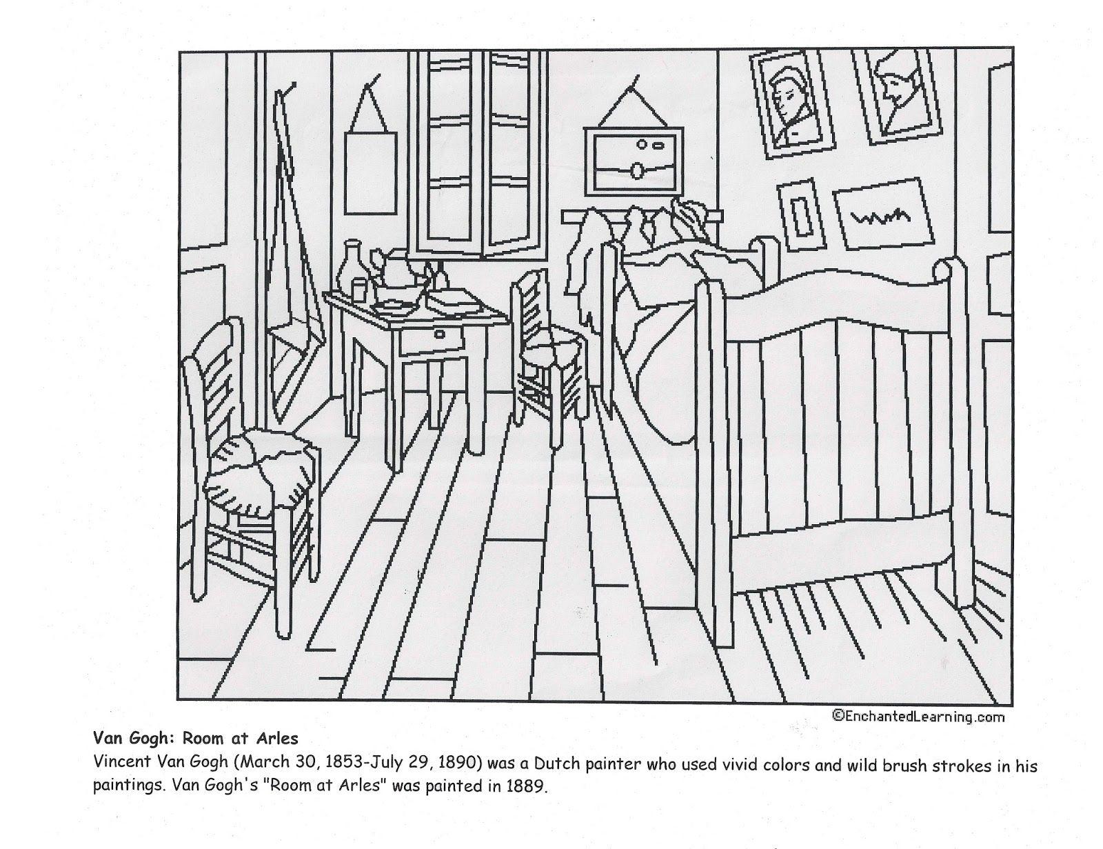 Vincent Van Gogh S Bedroom At Arles Coloring Page
