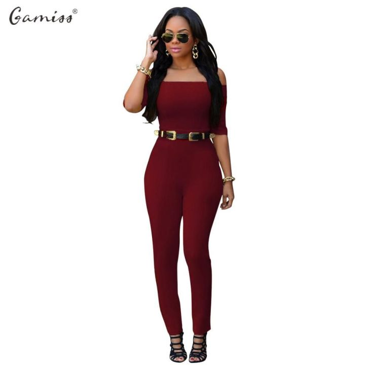Gamiss Plus Size Sexy Half Sleeve Off Shoulder Bodysuit  Kryese