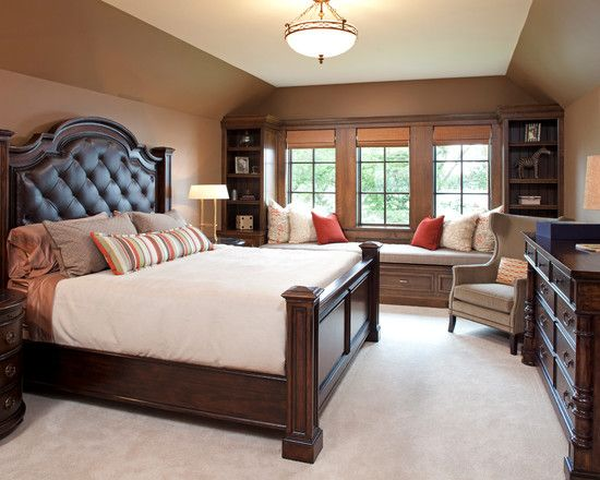 Traditional Dark Bedroom Ideas With Brown Wall Paint Color Also Elegant King Size Bed