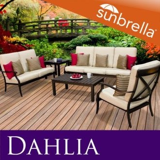 Heritage Dahlia Outdoor Cast Aluminum Seating Set w Sunbrella Covers     Heritage Dahlia Outdoor Cast Aluminum Seating Set w Sunbrella Covers Patio  Sofa   eBay