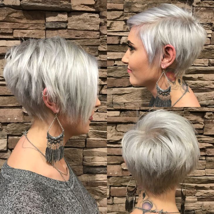 Long pixie with bangs silver Hair Pinterest Long pixie