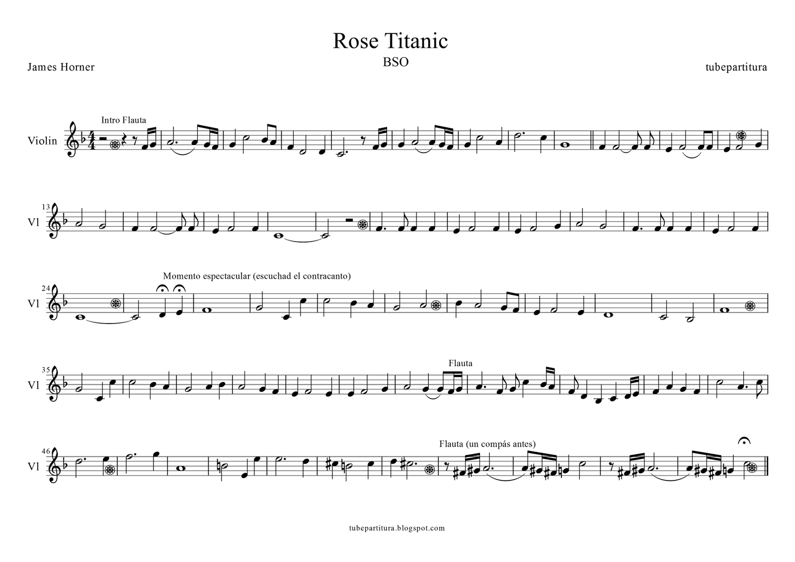 Titanic Rose Piano Sheet Music
