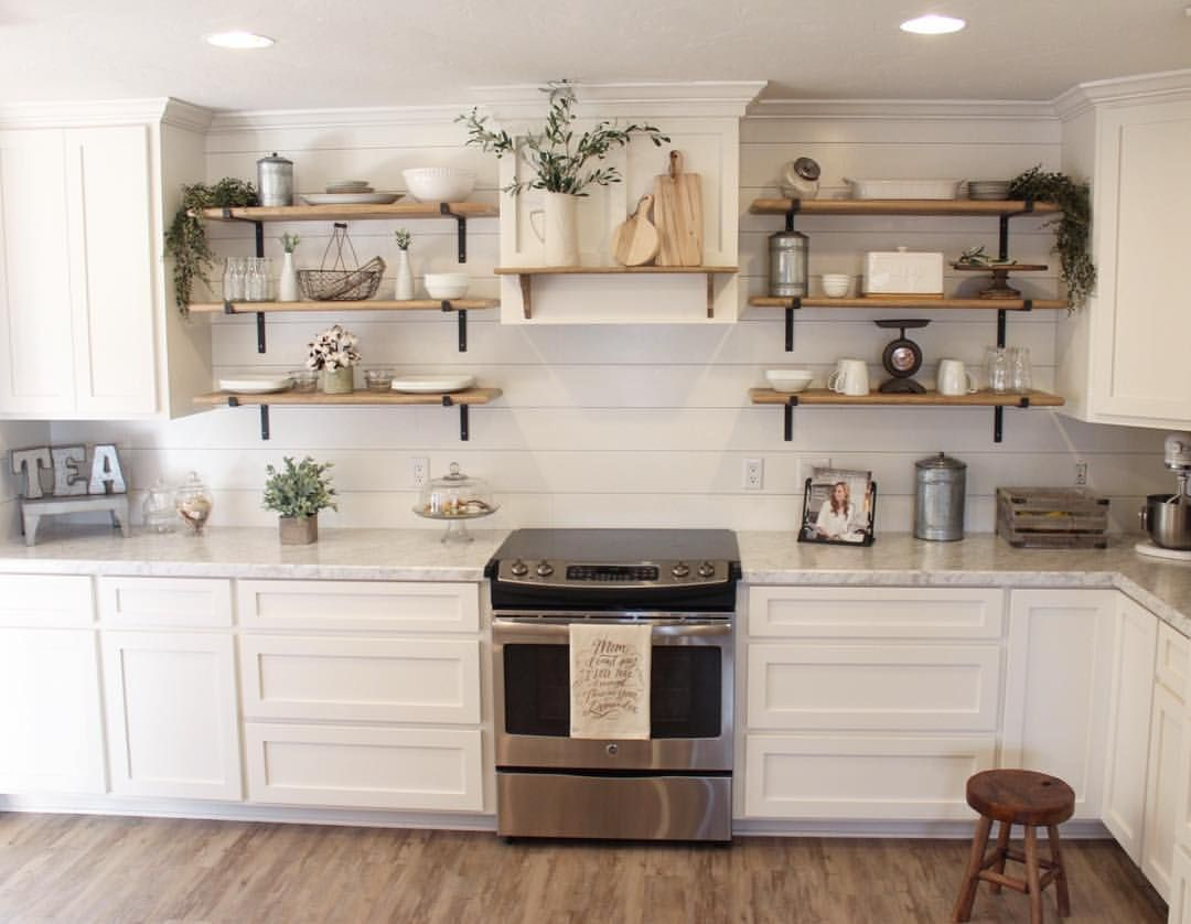 i love this farmhouse kitchen with the open shelving and ship lap backsplash see this instagram on farmhouse kitchen open shelves id=96271