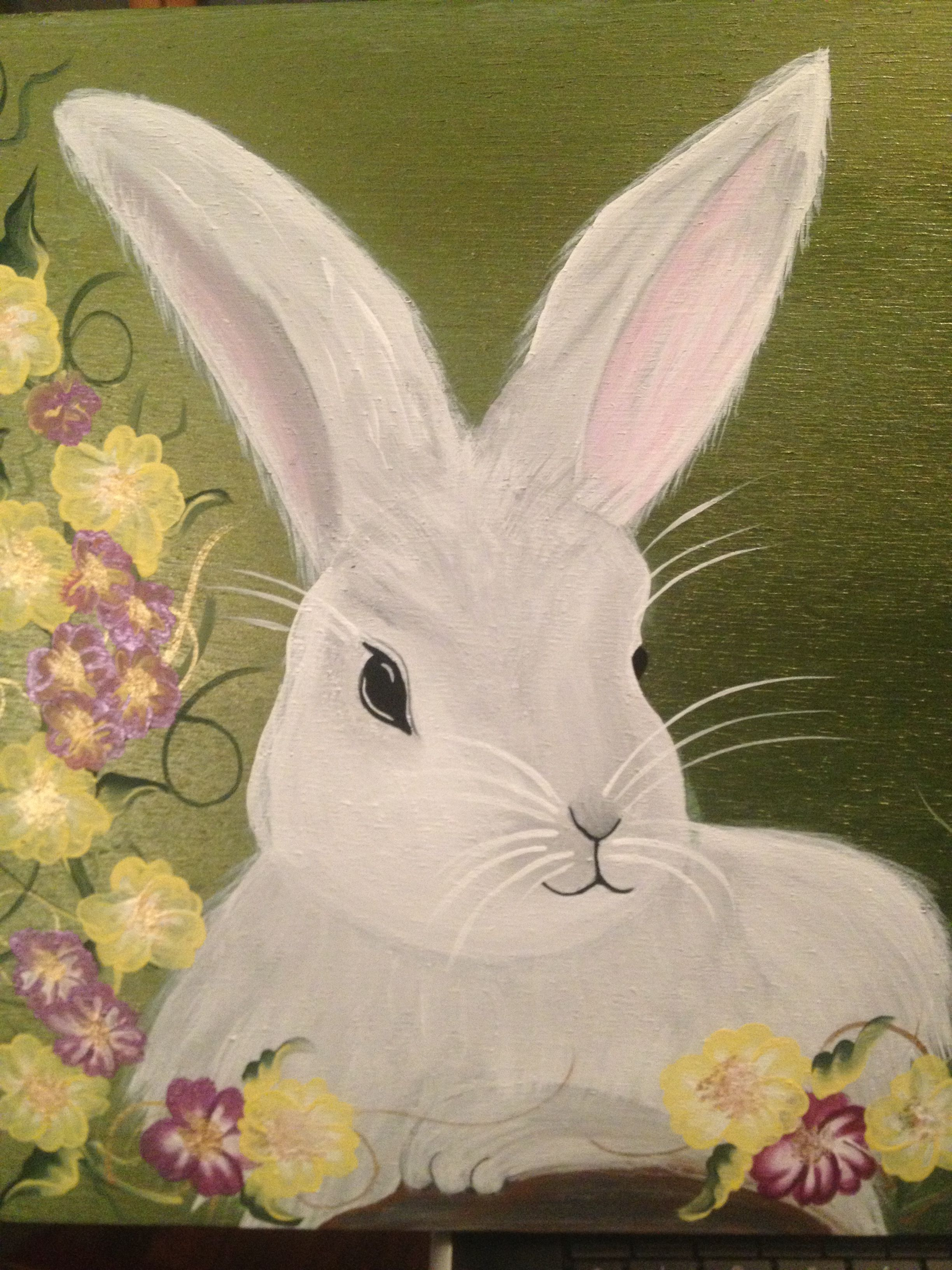 Wooden Bunny Sign With One Stroke Painting