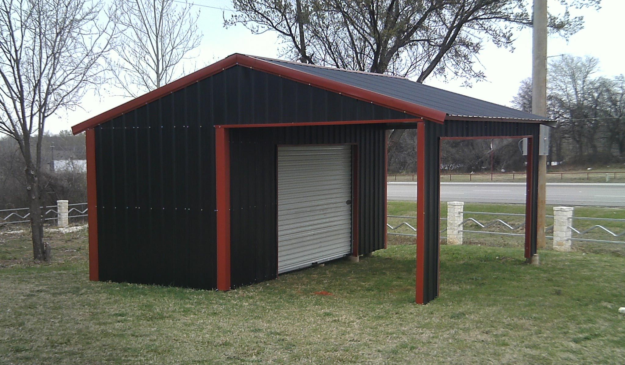 American Steel Carport A Frame Vertical Partial Enclosed With Side Entrance Available From