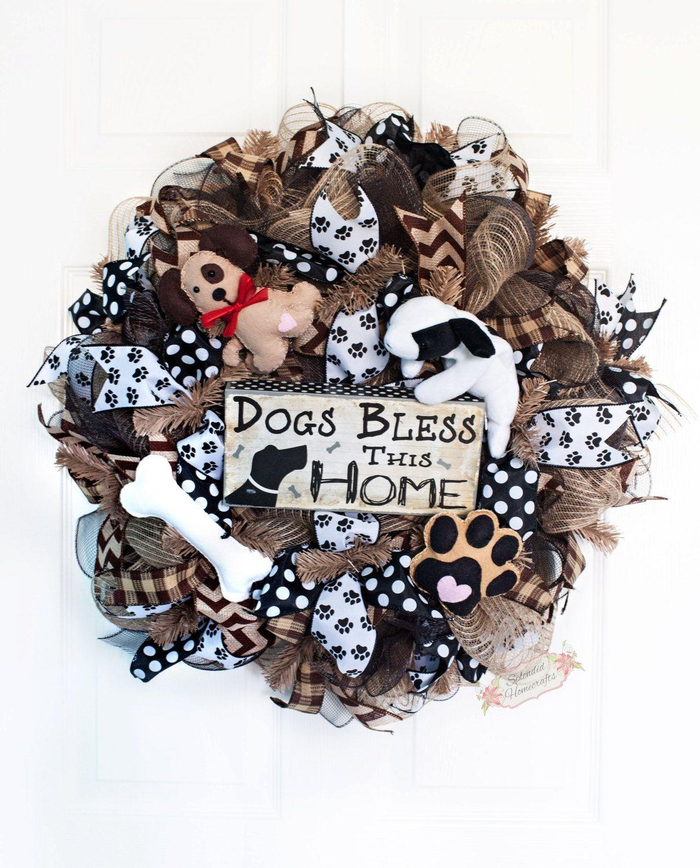 24 Dog Deco Mesh Wreath Dog Lovers Wreath Burlap Dog
