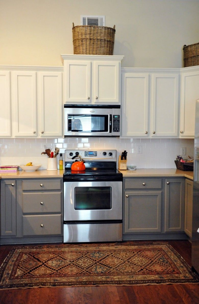 stunning traditional two tone kitchen cabinets using white and grey color made from wooden on kitchen cabinets grey and white id=34031