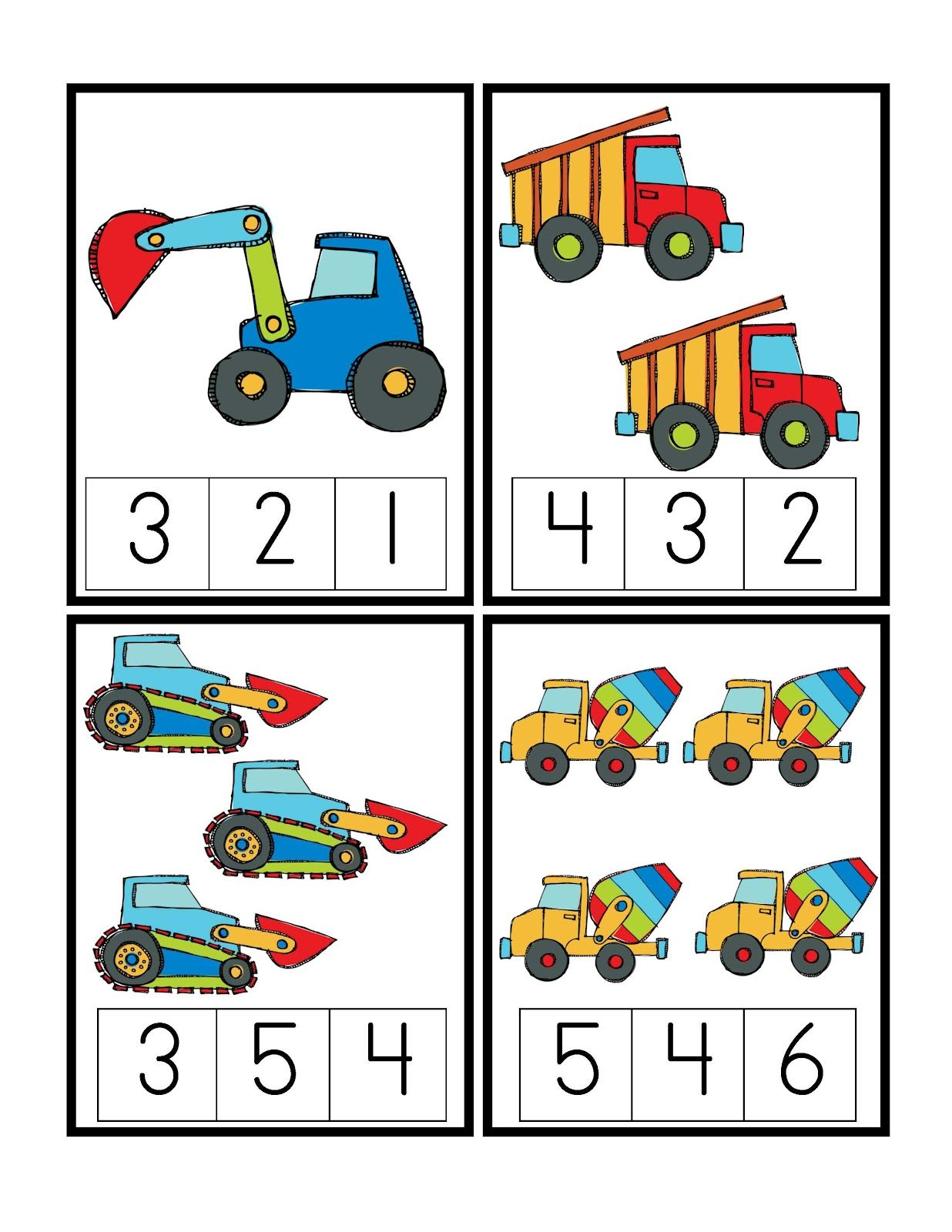 Preschool Printables Construction Vehicles
