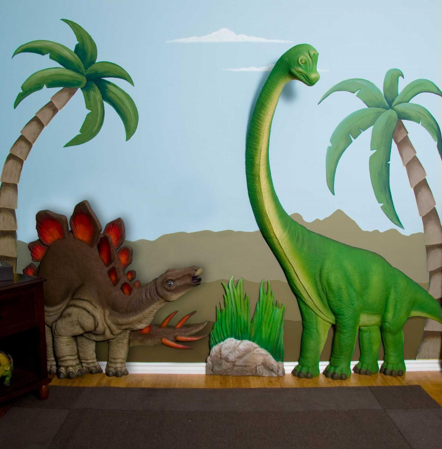 Brachiosaurus Amp Stegosaurus Dinosaur Set 3d Wall Art Decor