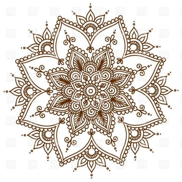 Brown round floral mandala download royaltyfree vector clipart