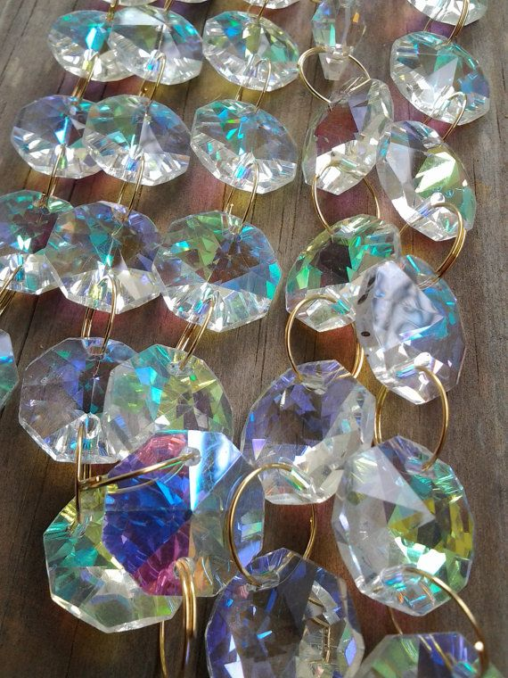 1 Yard Iridescent Rainbow Chandelier Crystal Chains Swags Prism Yards Shabby Chic Cottage Style