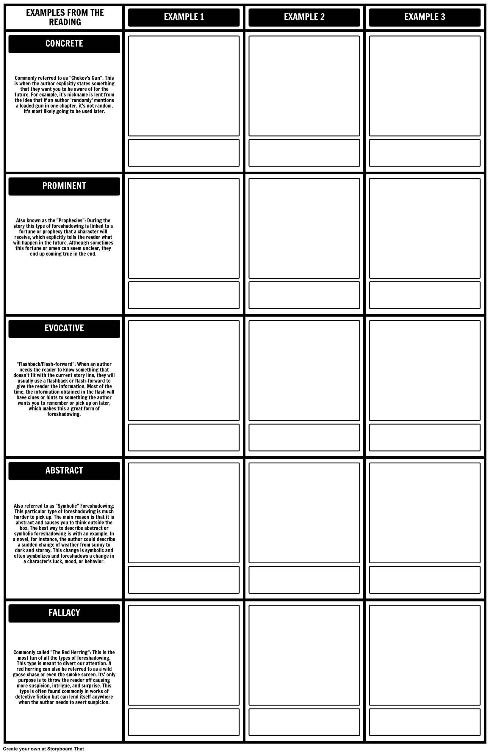 Our Foreshadowing Template Worksheet Was Made With Our