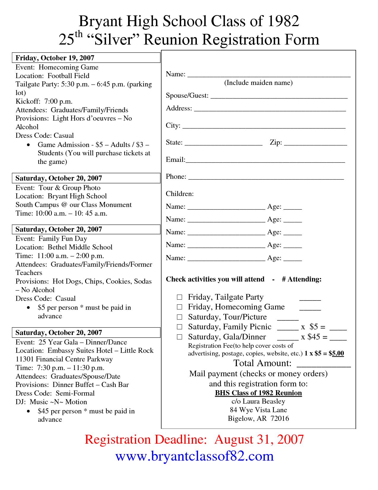 Reunion Questionnaire Templates